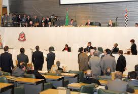 Deputados estaduais em sessão na Assembléia Legislativa