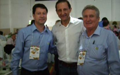 Vereadores Jr. Palmeirense e Bras Rochel participam de congresso regional do PMDB em Tatuí  e apoiam Paulo Skaf para governador do Estado. Michel Temer também presente
