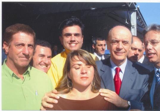 Pedro Saci, João Luiz Meira, Calá, o então governador José Serra, Edson Giriboni e Rose.