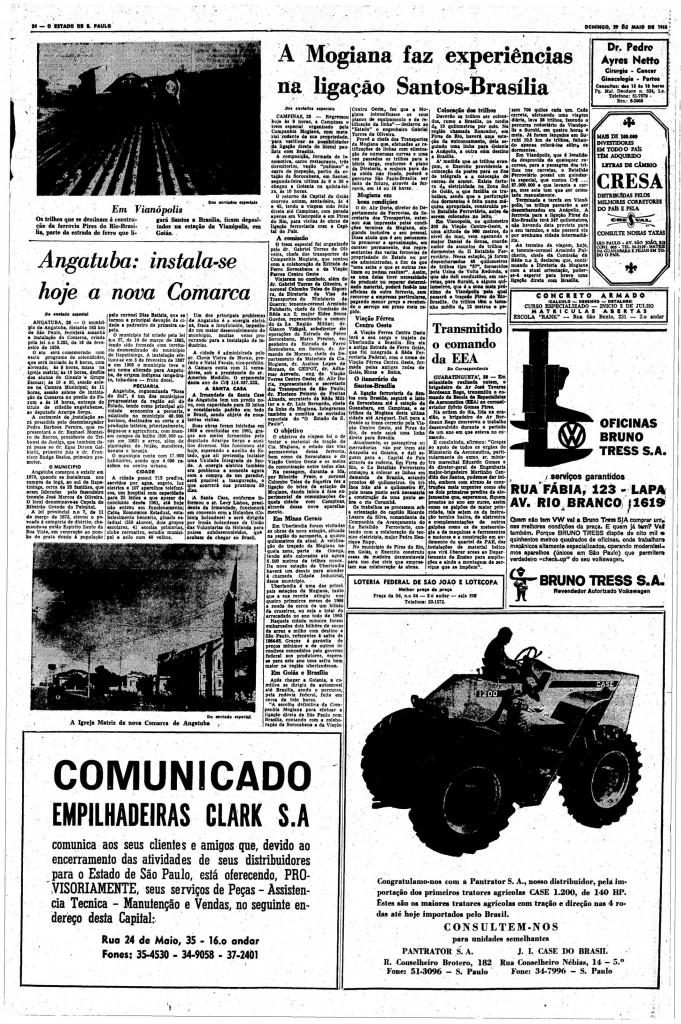 Página do Estadão , de 29 de maio de 1966,em que foi publicada a noticia da instalação da Comarca de Angatuba