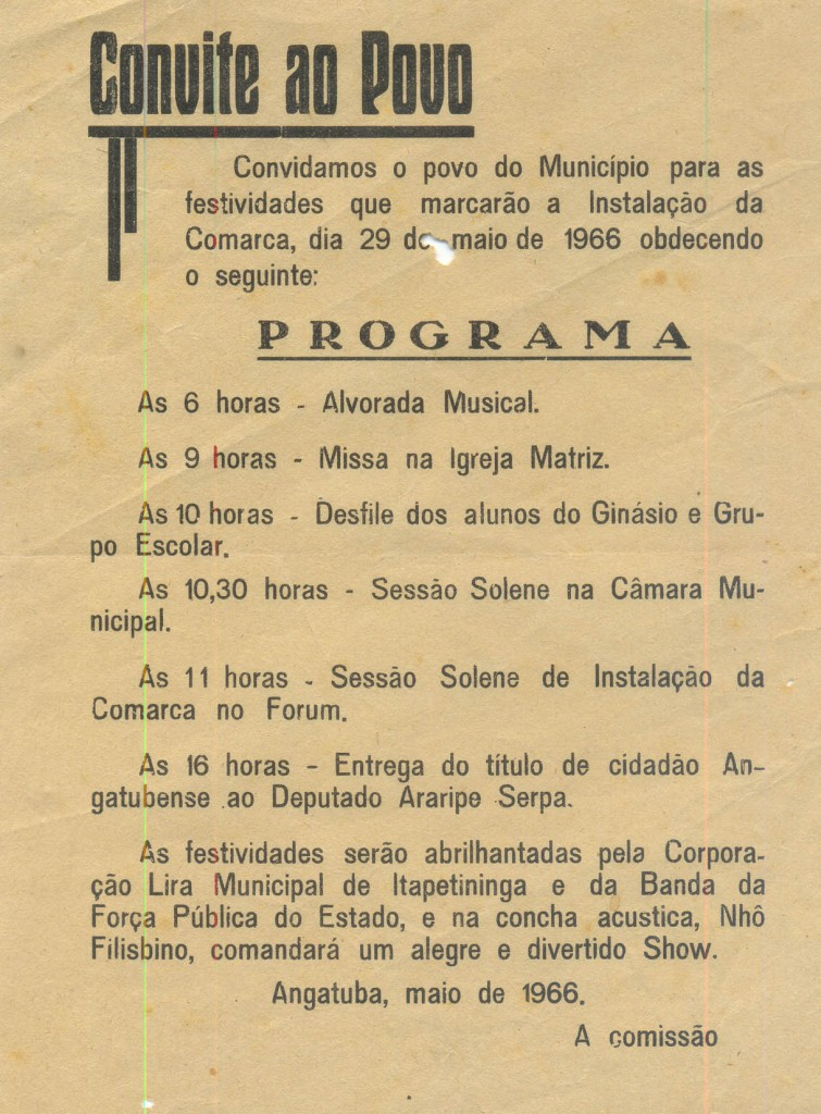 Convite para a cerimônia de instalação da comarca