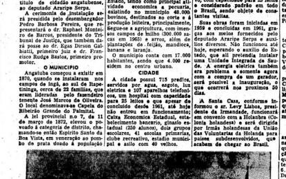 """""""Estadão"""" de 49 anos atrás destacava instalação da Comarca de Angatuba"""