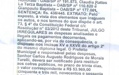 TCE julga despesas de 2012 como irregulares e obriga prefeito Calá a restituir quase 54 mil aos cofres públicos