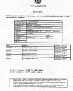 Certidão do Solidariedade, de Angatuba, em nome de Delgado. Clique para aumentar.