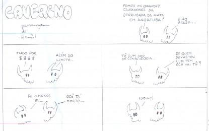Alertas e críticas ecológicas, em quadrinhos, uma criação do professor César Ribeiro