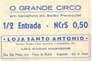 Ingresso de meia entrada com a propaganda da Loja Santo Antonio