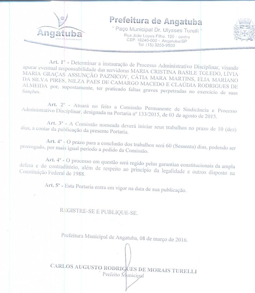 Artigo 1º da Portaria do prefeito Calá determinando  a instauração de processo.