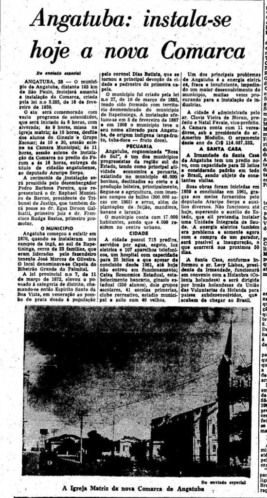Matéria do Estadão  do dia 29 de maio de 1966
