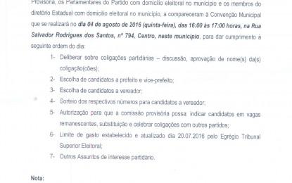 CONVENÇÃO DO PARTIDO DEMOCRÁTICO TRABALHISTA (PDT) DE ANGATUBA