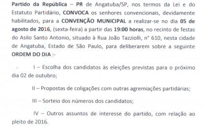 CONVENÇÃO DO PARTIDO DA REPÚBLICA (PR) DE ANGATUBA DIA 5 DE AGOSTO