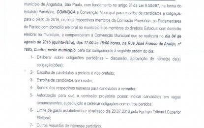 CONVENÇÃO DO PARTIDO SOCIAL CRISTÃO (PSC) DE ANGATUBA DIA 4 DE AGOSTO