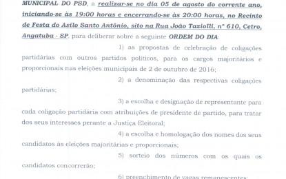 CONVENÇÃO DO PARTIDO SOCIAL DEMOCRÁTICO (PSD) DE ANGATUBA DIA 5 DE AGOSTO