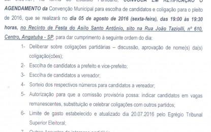 EDITAL DE RETIFICAÇÃO PARA CONVENÇÃO DO PDT DE ANGATUBA