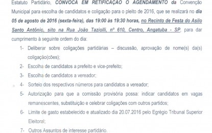 EDITAL DE RETIFICAÇÃO PARA CONVENÇÃO DO PSC DE ANGATUBA