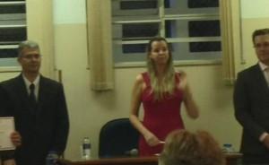 Eluler Zacarias, juíza Fabiana Marini e Marcos Ramos