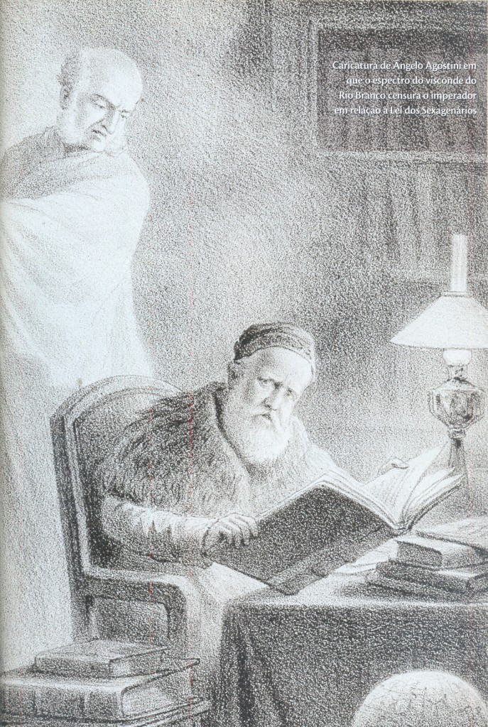 Caricatura de Angelo Agostin (1843-1910) em que o espectro do visconde do Rio Branco censura o imperador em relação a Lei dos Sexagenários