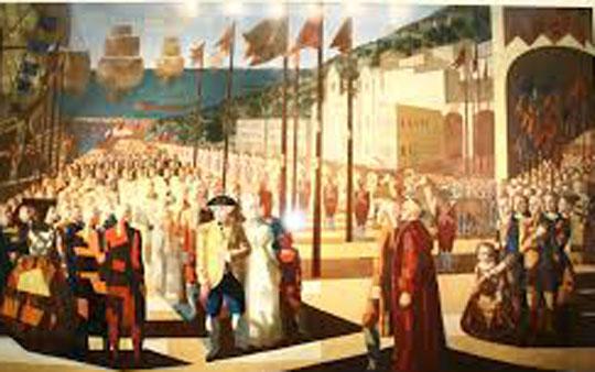Pintura de 1952  retratando a chegada de d. João VI ao Rio de Janeiro, de Cândido Portinari