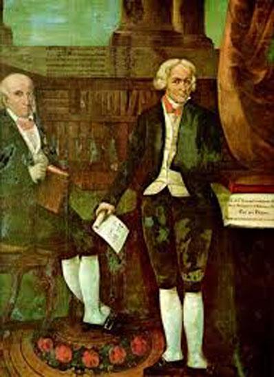 Na pintura, José da Silva Lisboa e, à direita, José Bonifácio de Andrada e Silva.