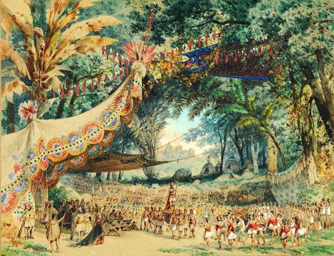 Delirio tropical: a visão do italiano Ferrario para o cenário do Campo dos Aimorés, da ópera O Guarani, de Carlos Gomes