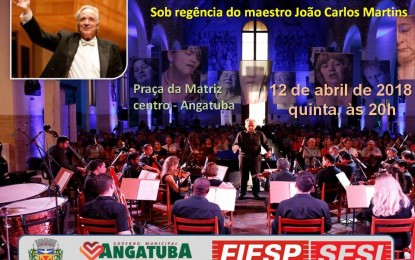 Apresentação da Bachiana Filarmônica Sesi sob a regência de João Carlos Martins em Angatuba dia 12 de abril -uma grande oportunidade para o acesso à música clássica