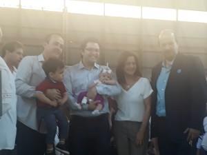 Da esquerda para a direita, o vereador Bruno, o secretário Jorge Paulo, a primeira-dama do Estado Lúcia França e o prefeito Luiz Antônio Machado